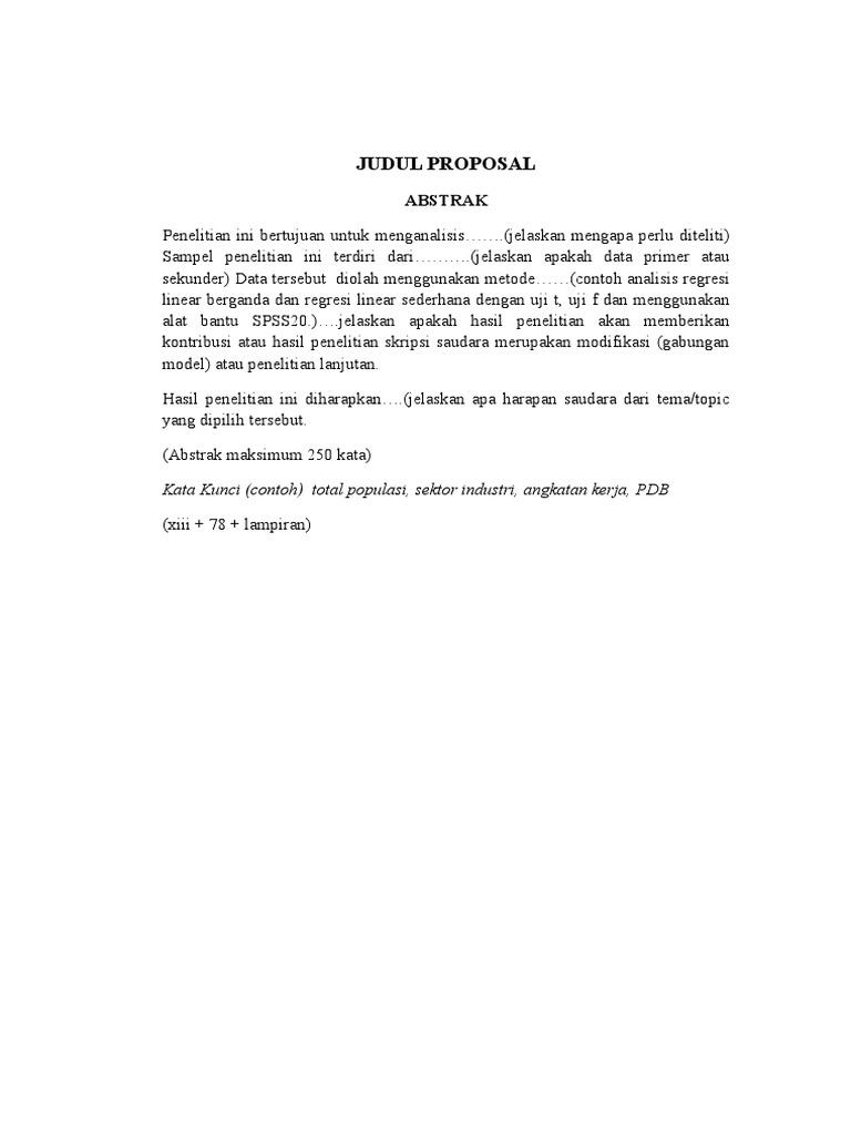Contoh Abstrak Proposal