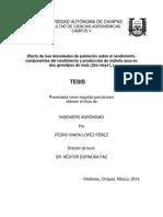 evaluación de tres densidades de población