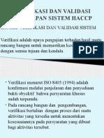 Verifikasi Dan Validasi Penerapan Sistem Haccp