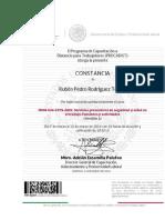Constancia NOM-STPS-2009 Servicios Preventivos de Seguridad y Salud Rubén Pedro Rodríguez Torres