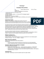lesson plan for formatting in word