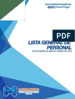 Lista General de Personal del Gobierno Municipal Marzo 2016