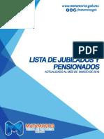 Lista de Jubilados y Pensionados del Gobierno Municipal de Matamoros Marzo 2016