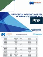 Lista de Vehiculos Oficiales del Gobierno Municipal de Matamoros Marzo 2016