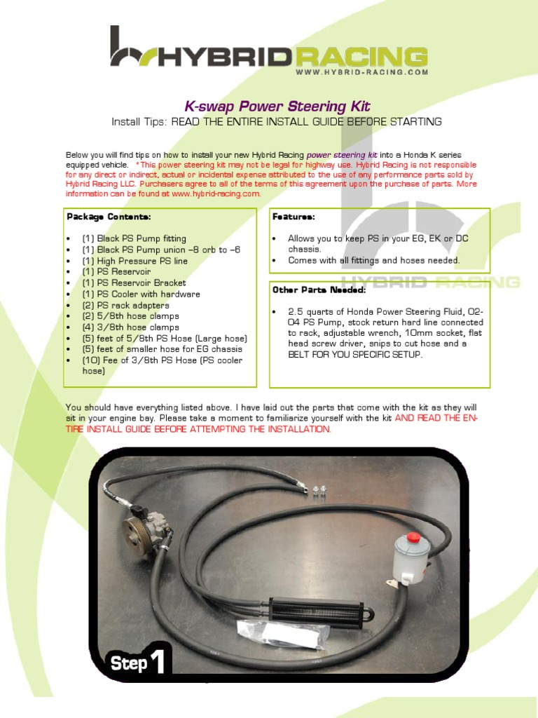 Hybrid Racing Power Steering Kit Install Guide Limited Liability Connect The Cooler Hose To Pump Company Vehicle