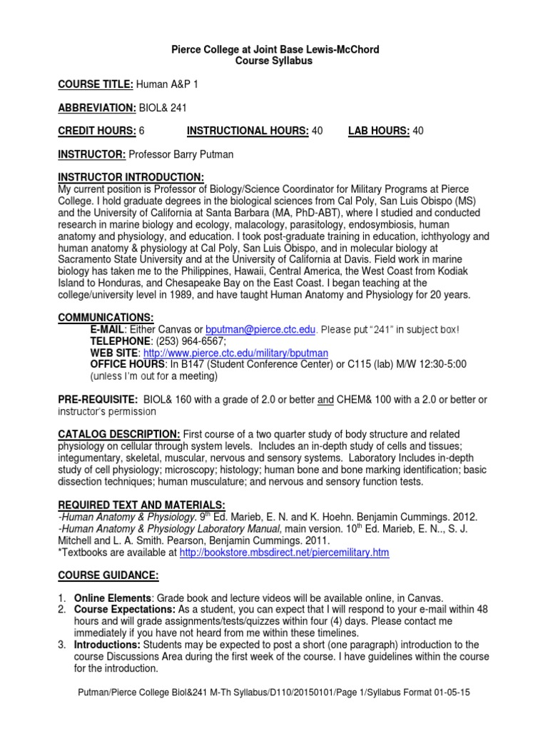 241 00b 15 01 syllabus 20150101 M-Th D110 | Epithelium | Test (Assessment)