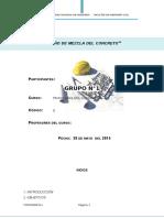 Informe de Mezcla de Concreto no terminado
