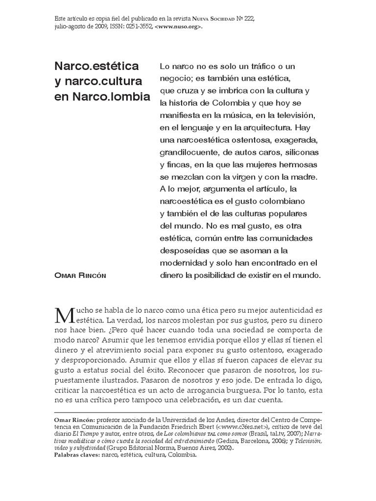 32e55847db Narco Estética y Narcocultura en Colombia