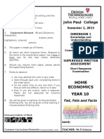 year 10 fads fats and facts exam 2015
