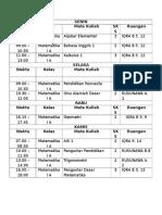 Jadwal Kuliah Matematika