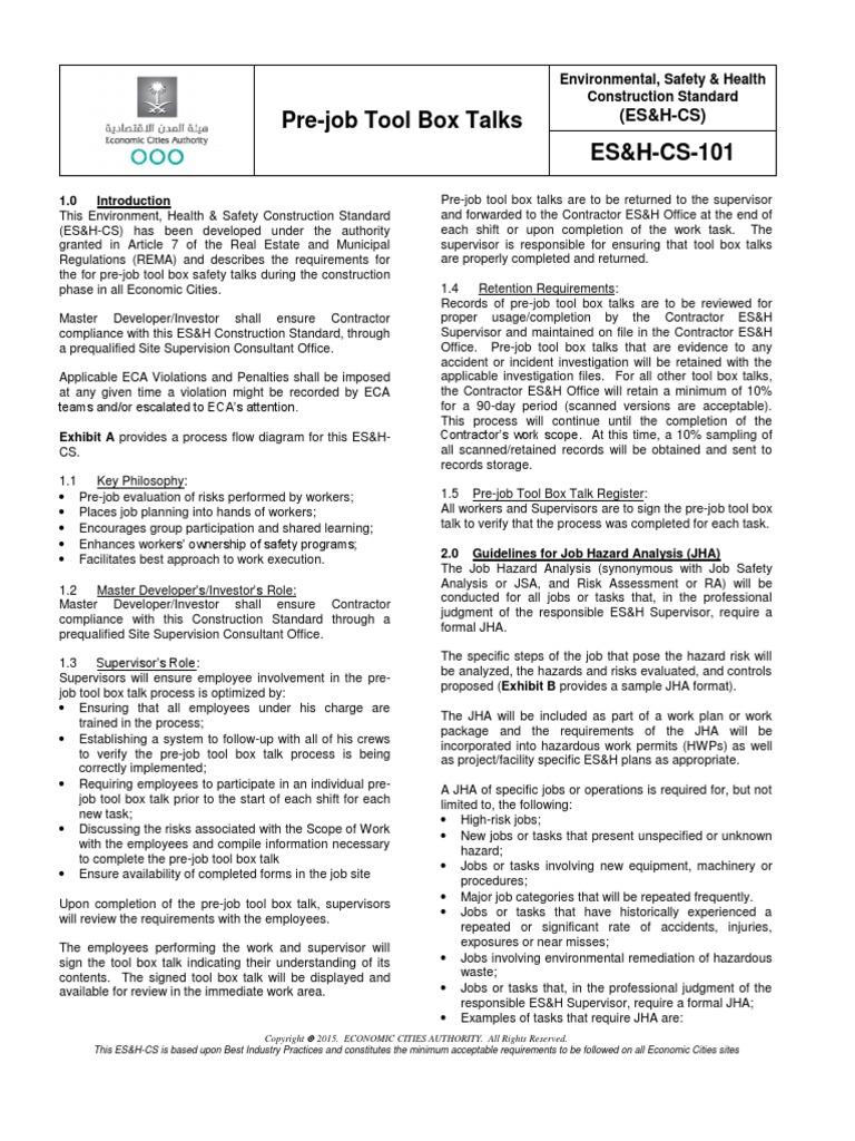 Cs 101 Pre Job Tool Box Talks Employment Safety Standard For Process Flow Diagram