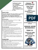 year 11 textiles practical assessment task - semester 1 2015