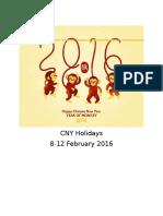 CNY Holidays