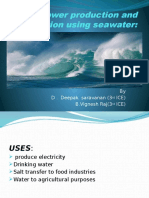 Power Production and Purification Using Seawater