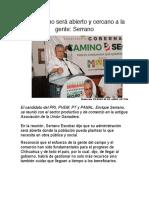 2016-04-08 Mi gobierno será abierto y cercano a la gente- Serrano
