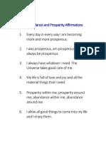 Abundance and Prosperity Affirmations
