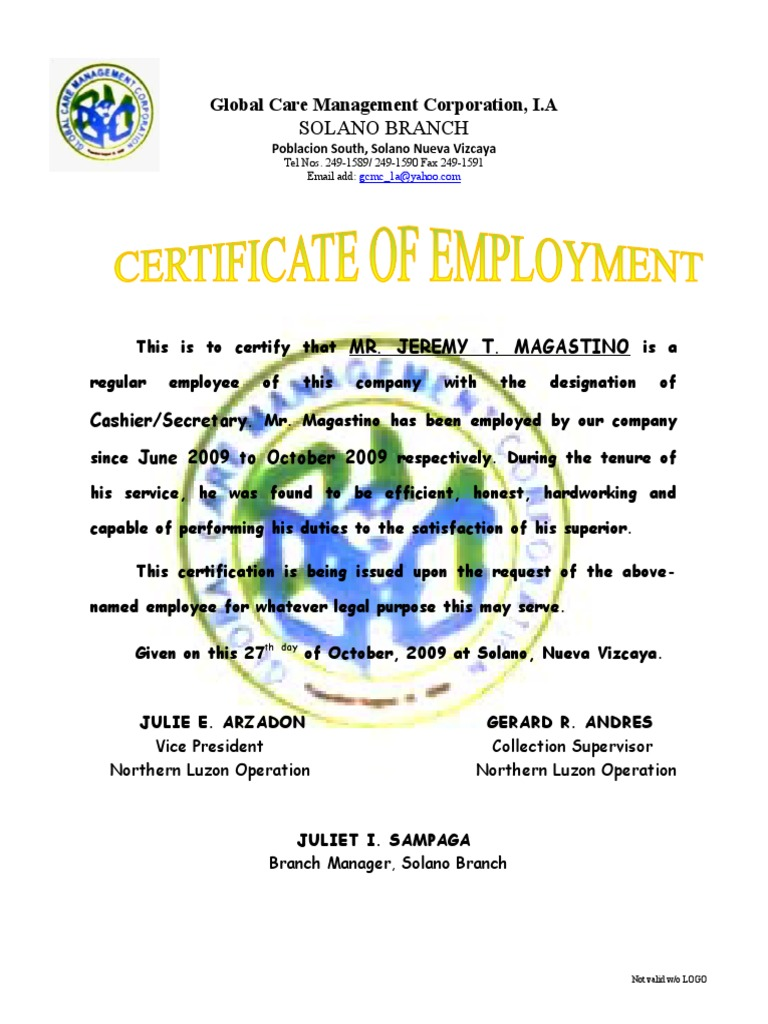 Certificate of Employment jeremy – Sample of Certification of Employment