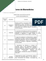 Ementário Do Curso de Biomedicina — Biomedicina