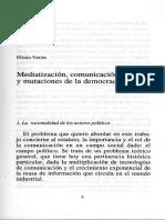 Mediatizacion Comunicación Política y Mutaciones de La Democracia - Eliseo Veron