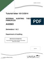 AUI2601 Tutorial Letter 101 2014