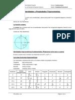 Tabla de Identidades Trigonometricas