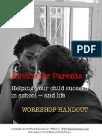 advice for parents workshop handout