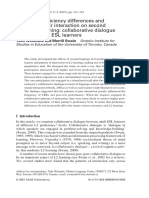 Pair Work - Effects of Proficiency Differences and Patterns of Pair Interaction on Second Language Learning Collaborative Dialogue Between Adult ESL Learners