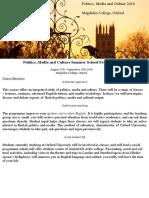 Brochure (Politics, Media and Culture at Magdalen College 2016)