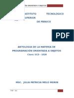 ANTOLOGIA DE LA MATERIA DE  PROGRAMACIÓN ORIENTADA A OBJETOS