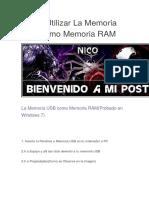 Como Utilizar La Memoria USB Como Memoria RAM