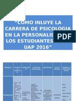Como Influye La Carrera de Psicologia en La Personalidad de Los Estudiantes de La Uap 2016