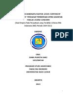 """Skripsi Pengaruh Beberapa  Faktor Good Corporate  Governance  Terhadap  Pemberian  Opini  Akuntan  Publik Going Concern"""" (Studi Empiris Pada Perusahaan yang Terdaftar di Bursa Efek Indonesia (BEI) Periode 2009-2012)"""
