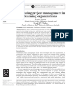 Advancing Project Management in Learning Organizations