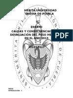 Causas y Consecuencias de La Devaluación Del Peso Mexicano en El Año 2015