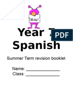 Year 7 Spanish Summer Revision Booklet 2010