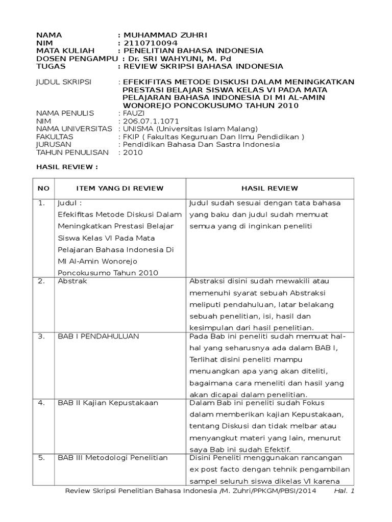Contoh Format Review Skripsi Ide Judul Skripsi Universitas
