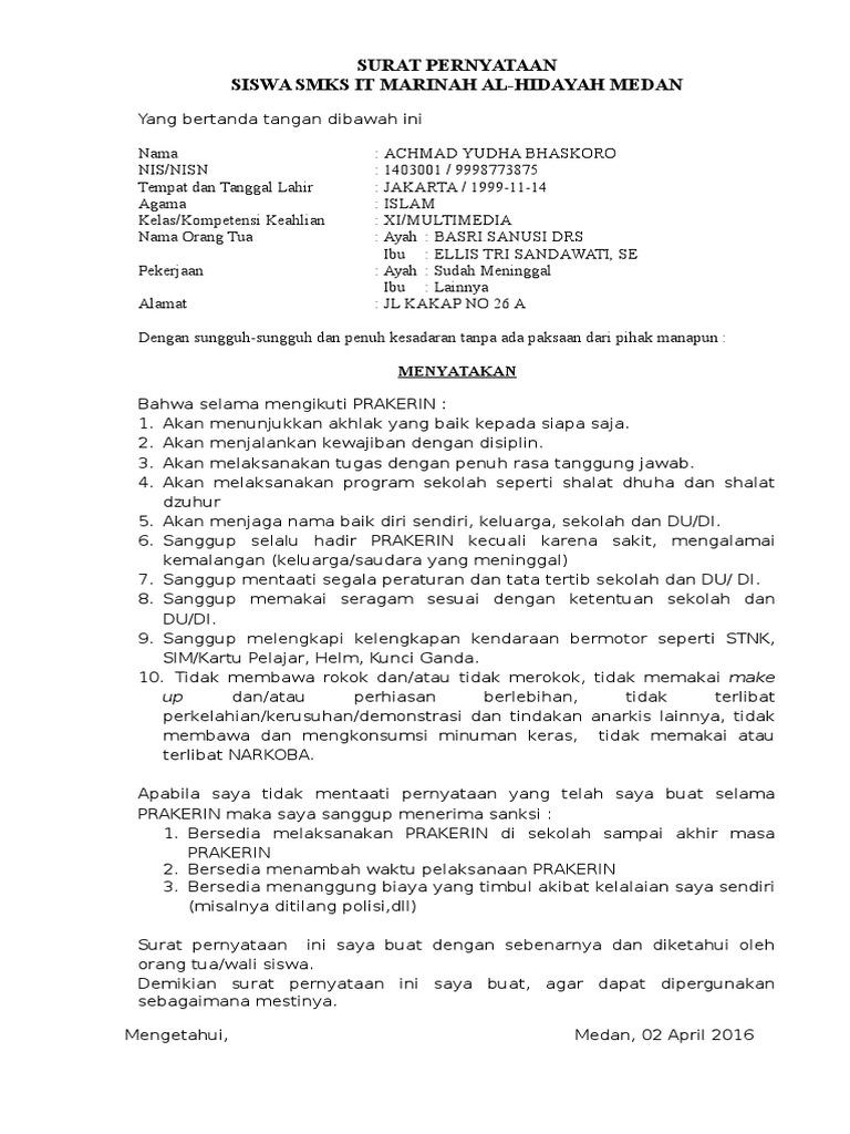 Contoh Surat Pernyataan Prakerin Siswa