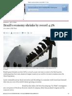 Brazil's Economy Shrinks by Record 4.5% - FT