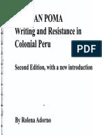Rolena Adorno . Guaman Poma Escritura y Resistencia en La Colonia