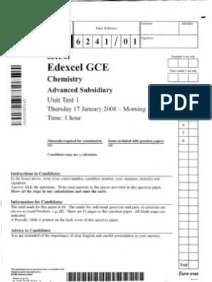 Chemistry A-Level Edexcel 2008 Jan (QP+MS) | Chemical Bond | Ion
