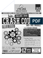 UPSC IAS GS Crash Course 2016 Delhi & Hyderabad Classroom Schedule
