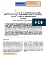 Academic Freedom in Al Al Bayt University and the Level of Practicing It From the View Point of the Faculty Members Based on Some Variables