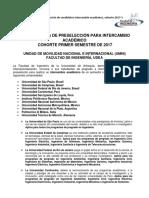 Convocatoria Preselección Intercambio Académico Cohorte2017-1 Fac. Inge