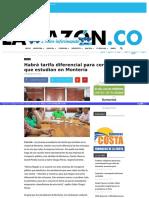 Habrá tarifa diferencial para cereteanos que estudian en Montería