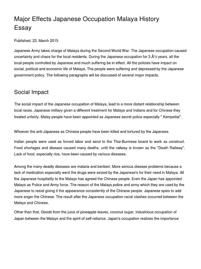 Major Effects Japanese Occupation Malaya History Essay Empire Of Japan Malaysia