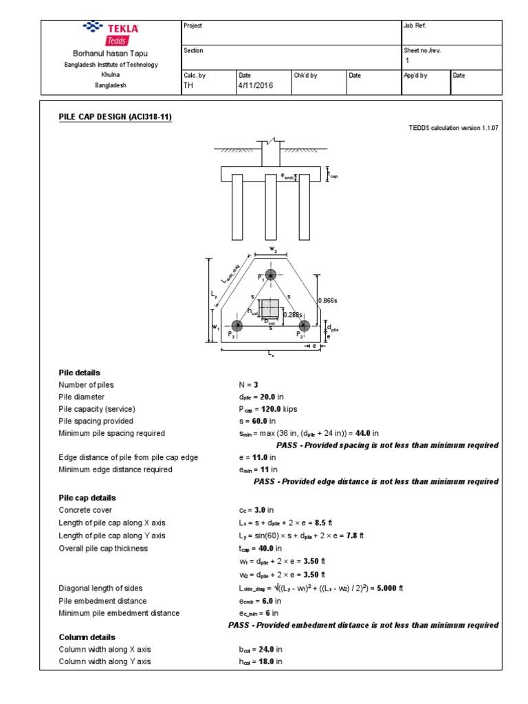 Rc Pile Cap Design Aci318 Deep Foundation Materials Science
