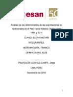 Análisis de Las Determinantes de Las Exportaciones No Tradicionales en El Perú Hacia Estados Unidos Entre 1993 y 2014