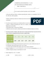 Avaliação Bimestral de Matemática 1º a 2015