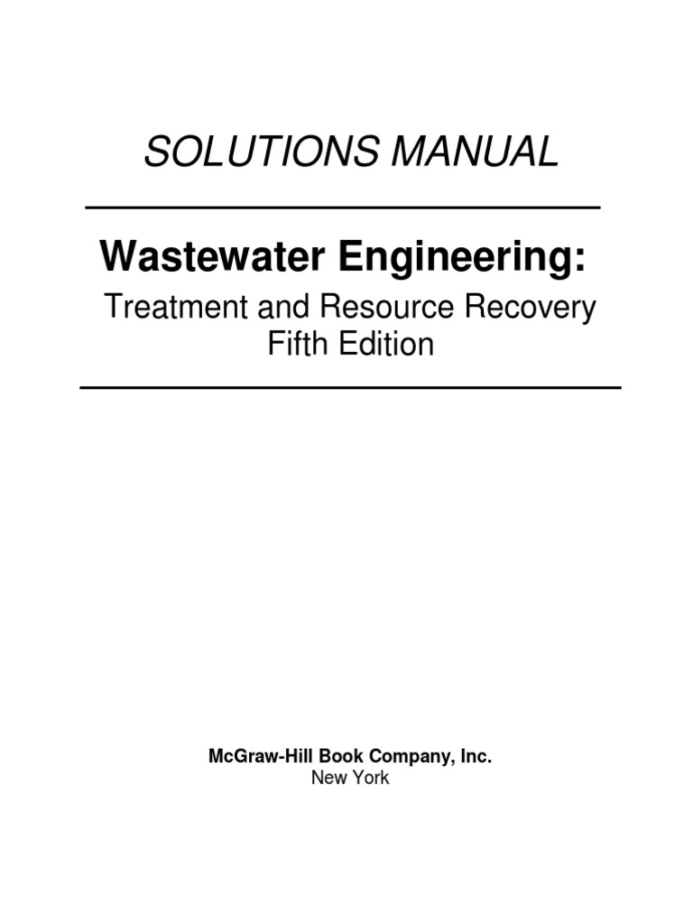 Wastewater Engineering Treatment 5th Edition Solutions Manual   Sewage  Treatment   Ph