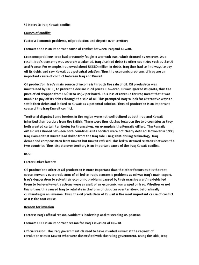 an analysis of the factors that led to the invasion of kuwait by the iraqis Gulf war 1991 - kuwait and iraq subsequent to the invasion the iraqis claimed to have found a memorandum pertaining to some factors considered as possibly.